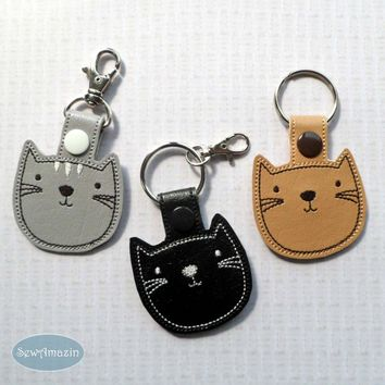Cute Cat Snap Tab Key Fob, Purse Charm, Choose your Color