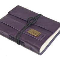 Purple Leather Journal with Bookmark