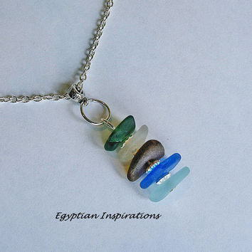 Sea glass necklace. Beach glass stack necklace. Seaglass jewelry.