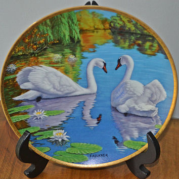 Swan Collector Plate, James Faulkner, Vintage Plate