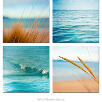 Ocean Photography print set nautical decor beach photography surf photos waves 5x5 inch blue teal wall art sand summer macro photo