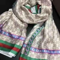 Perfect Gucci Woman Cashmere Scarf Shawl Silk Scarf