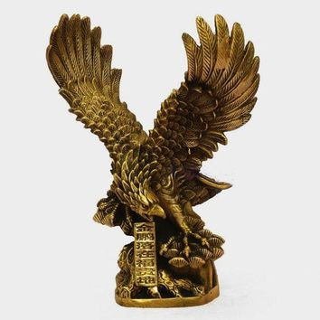 Chinese Brass Copper spread the wings Hawk Eagle Bird Figures Statue