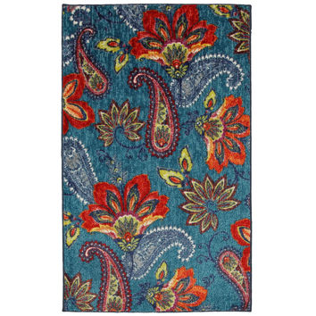 5' x 8' Floral Paisley Area Rug in Blue Teal Red Orange