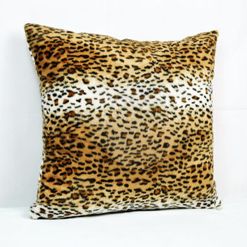 Brown, Honey, Cream, Camel Leopard Skin Printed Decorative Pillow Case 18 inch x 18 inch, Plush Throw Pillow, Custom Size
