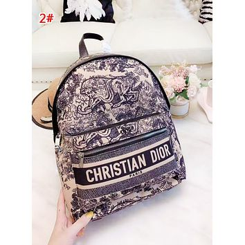 DIOR Fashion New Letter Print Multicolor Retro Women High Quality Leisure Backpack Bag 2#
