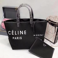 CÉLINE Trending Women Stylish Leather Satchel Handbag Shoulder Bag Two Piece Set Black I-WXZ2H