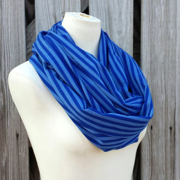 FALL TREND - Infinity Scarf - OXFORD Pinstripe Blue Circle Scarf - Chambray Shirting Fabric
