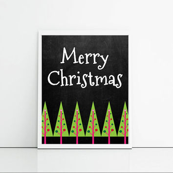 Merry Christmas Typography print, Christmas trees and chalk board typographic poster, Christmas decor, wall hanging.