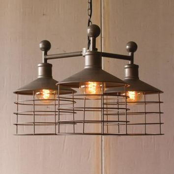 Metal 3 Caged Pendant Light