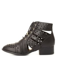 Dollhouse Cut-Out Lace-Up Booties by Charlotte Russe - Black