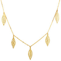 14K Yellow Gold 5 Hanging Leaf Pendants On 18 Inch Necklace