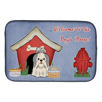 Dog House Collection Shih Tzu Silver White Dish Drying Mat BB2839DDM