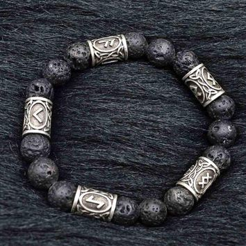 MKENDN 2017 Viking Rune Lava Bead Bracelet Men Explorer Stone Charm Bracelet Jewelry Friendship Gifts