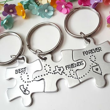 Personalized Keychains, Friendship Keychains, Family Keychains, Bridesmaids Gift, Best Friends Gift, Connecting Keychains, Gifts for Friends