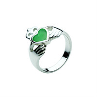 Celtic Claddagh Ring in Sterling Silver with Green Agate