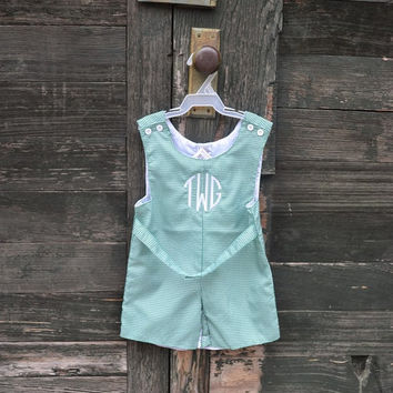Personalized Green Gingham Boys Shortall Romper  - Easter - Monogrammed