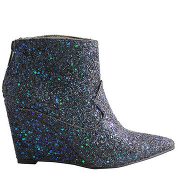 The Citron Booties in Black Glitter