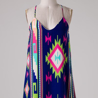 Aztec Racer Back Dress - Royal