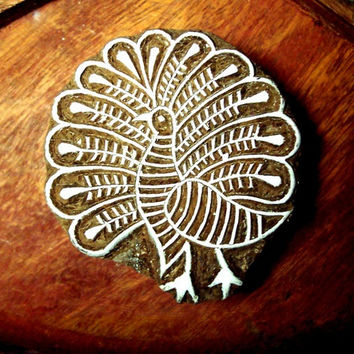 Peacock Hand Carved Wood Stamp Animal Indian Printing Block (AN23)