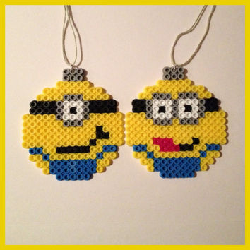 Minion Christmas ball ornaments Set of 2 by K8BitHero on Etsy