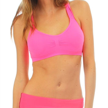 Pink Criss Cross Racerback Sports Bra