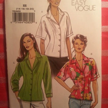 Uncut Vogue Sewing Pattern, 8248! 14-16-18-20 Medium/Large/XL/Women's/Misses/Button Up Collared Blouse/Short Sleeve Shirts/Long Sleeve Tops