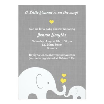 Little Peanut Baby Shower Invitation-Yellow Heart 5x7 Paper Invitation Card