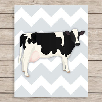 Chevron Cow Art Print, Animal Nursery Art, Farm Animal Art, Art for Kitchen, Cow Kitchen Art, Chevron Kitchen Art Print, Farm Nursery Print