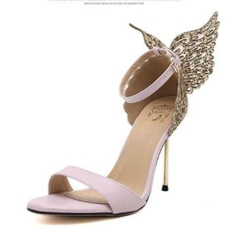 Explosion Models 2016 New Fashion Valentine Shoes Bronzing sequins Butterfly High Heel
