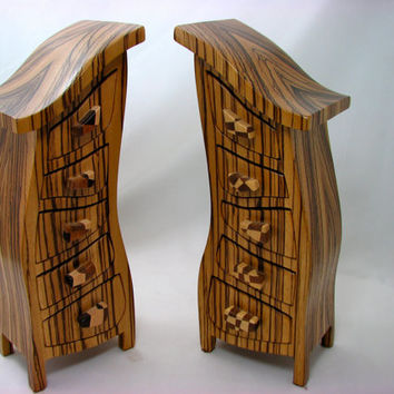 Gold Earrings, Wood Jewelry Box - Solid Zebrawood - His and Hers