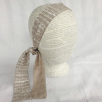 Reversible Head Wrap - Headwrap - Size Child to Adult - Tie Headband - Neutral Beige & White - Cotton Head Wrap -