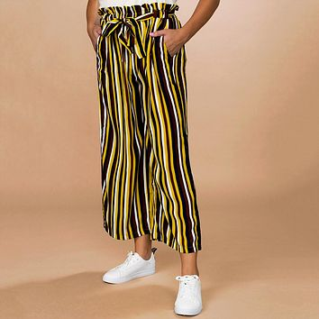 Belted Striped Palazzo Pants