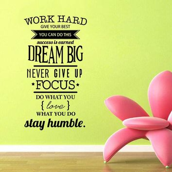 Free Shipping motivation wall decals office room decor - Never give up  work hard , dream big Inspirational Quote wall stickers