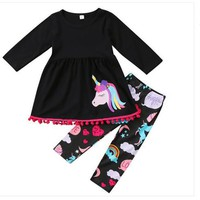 Cute Girls Clothes Black Little Girls Boutique Clothing 2pcs Unicorn Fall Girls Clothing Set with Pom Retail Baby Girls Clothes