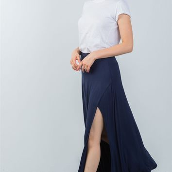 Navy Maxi Skirt with Side Slit