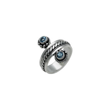 Water Reflection Sterling Silver And Blue Topaz Spin Ring