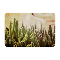 "Jillian Audrey ""Green Grass Cactus"" Green Brown Memory Foam Bath Mat"