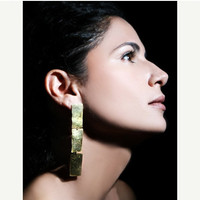 Gold plated  dangle earrings, 'Rectangle snippets'