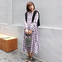 Tie-Waist Check Dress by 66girls