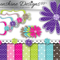 Polka Dot Daisy Scrapbook Kit Instant Digital Download