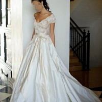 V neck short sleeves lace and taffeta princess wedding dress