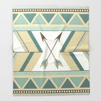 Aztec Pattern Arrows Throw Blanket by LouJah | Society6