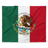 "Bruce Stanfield ""Mexico Flag And Coat Of Arms"" Red Green Fleece Throw Blanket"