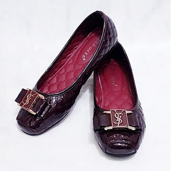 YSL New Popular Women Simple Metal Buckle Bowknot Flat Single Shoes Burgundy I12995-1