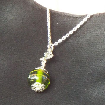 "Green Glass Bead on 18"" Chain"