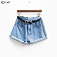 ROMWE Womens Brand Newest Spring Short Jeans Brand Mid Waist Denim Blue Button Fly With Pockets and Belt Cuffed Shorts