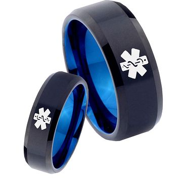 His Hers Medical Alerts Bevel Tungsten Carbide Blue Promise Ring Sets