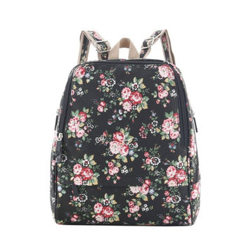 Women's Canvas Floral Print College Backpack Daypack Travel Bookbag