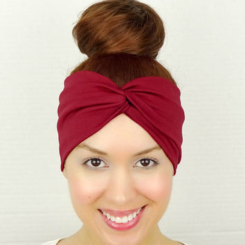 Twist Headband Wine Red Turban Headband Cute Women's Accessories Stretchy Head Wrap Red Wide Headband Red Yoga Headband Red Twist Headband